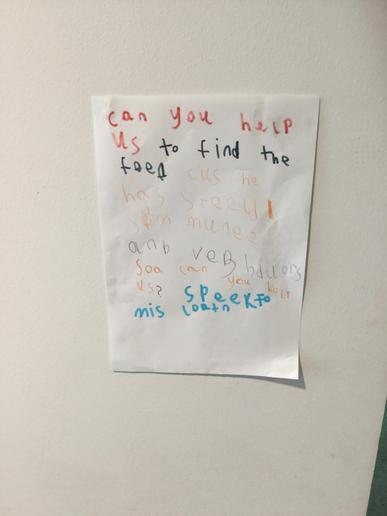 We put posters around the school.