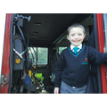 We all climbed through the cab of the fire engine.