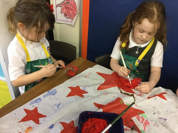 We used plastic bottle bottoms for the poppies.