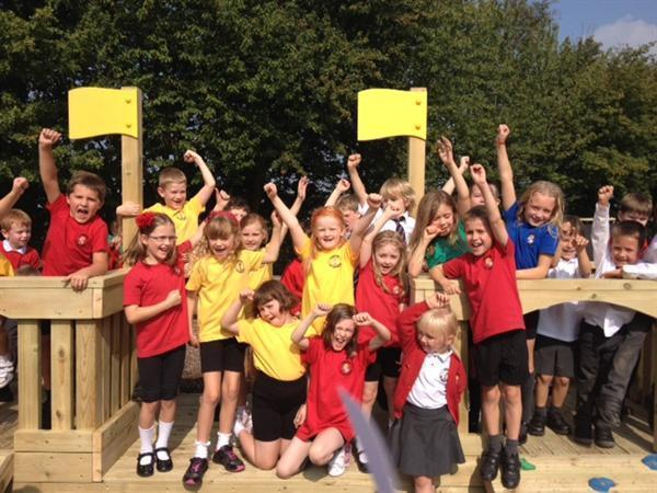 Hooray! Our new playground!
