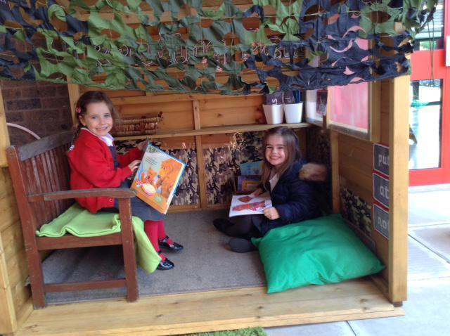 Sophie and Neve  in our new reading den