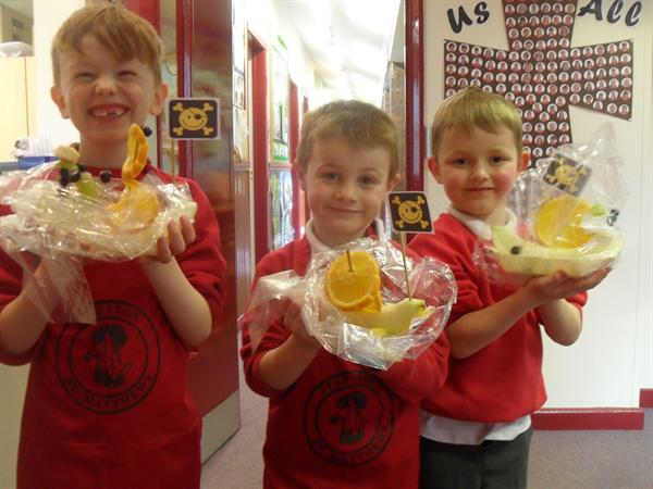 Year 1 designing and making fruit boats