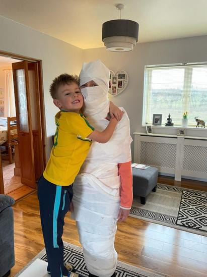 Alfie's mum is now an Egyptian Mummy.