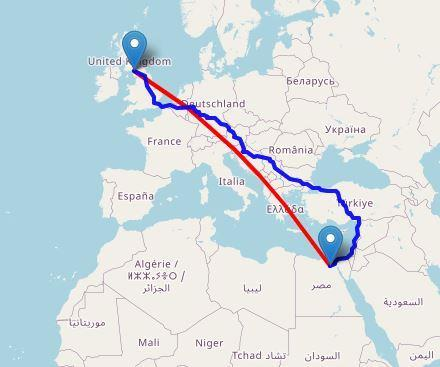 Our route to the Great Pyramid in Giza.