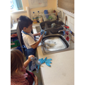washing up, when we finished making our crumble.