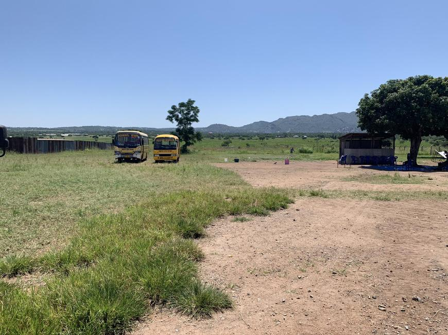 The school buses and some pupil toilets