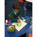 Painting our vegetables and fruit from Harvest