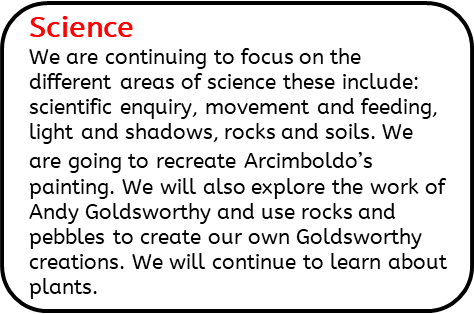 Science: We are continuing to focus on the different areas of science these include: scientific enquiry, movement and feeding, light and shadows, rocks and soils. We are going to recreate Archimboldo's painting. We will also explore the work of Andy Goldsworthy and use rocks and pebbles to create our own Goldsworthy creations. We will continue to learn about plants.