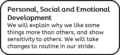 Personal, Social and Emotional Development: We will explain why we like some things more than others, and show sensitivity to others. We will take changes to routine in our stride.