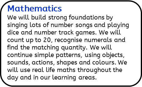 Mathematics: We will build strong foundations by singing lots of number songs and playing dice and number track games. We will count up to 20, recognise numerals and find the matching quantity. We will continue simple patterns, using objects, sounds, actions, shapes and colours. We will use real life maths throughout the day and in our learning areas.