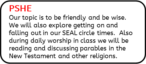 PSHE: Our topic is to be friendly and be wise. We will also explore getting on and falling out in our SEAL circle times.  Also during daily worship in class we will be reading and discussing parables in the New Testament and other religions.