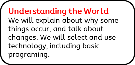 Understanding the World: We will explain about why some things occur, and talk about changes. We will select and use technology, including basic programing.