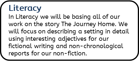 Literacy: In Literacy we will be basing all of our work on the story The Journey Home. We will focus on describing a setting in detail using interesting adjectives for our fictional writing and non-chronological reports for our non- fiction.