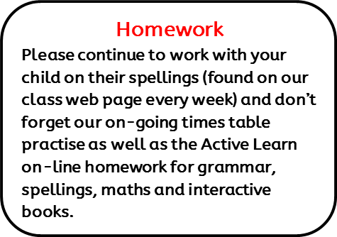 Homework: Please continue to work with your child on their spellings (found on our class web page every week) and don't forget our on-going times table practise as well as the Active Learn on-line homework for grammar, spellings, maths and interactive books.