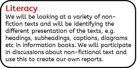 Literacy: We will be looking at a variety of non-fiction texts and will be identifying the different presentation of the texts, e.g. headings, subheadings, captions, diagrams etc in information books. We will participate in discussions about non-fictional text and use this to create our own reports.