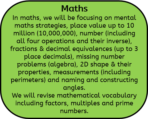 Maths: In maths, we will be focusing on mental maths strategies, place value up to 10 million (10,000,000), number (including all four operations and their inverse), fractions & decimal equivalences (up to 3 place decimals), missing number problems (algebra), 2D shape & their properties, measurements (including perimeters) and naming and constructing angles. We will revise mathematical vocabulary including factors, multiples and prime numbers.
