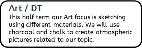 Art / DT: This half term our Art focus is sketching using different materials. We will use charcoal and chalk to create atmospheric pictures related to our topic.