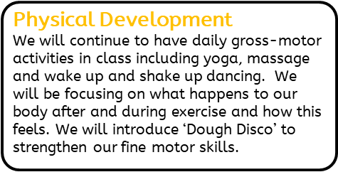 Physical Development: We will continue to have daily gross-motor activities in class including yoga, massage and wake up and shake up dancing.  We will be focusing on what happens to our body after and during exercise and how this feels. We will introduce 'Dough Disco' to strengthen our fine motor skills.
