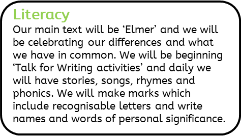 Literacy: Our main text will be 'Elmer' and we will be celebrating our differences and what we have in common. We will be beginning 'Talk for Writing activities' and daily we will have stories, songs, rhymes and phonics. We will make marks which include recognisable letters and write names and words of personal significance.
