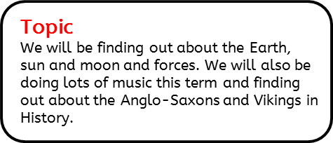 Topic: We will be finding out about the Earth, sun and moon and forces. We will also be doing lots of music this term and finding out about the Anglo-Saxons and Vikings in History.
