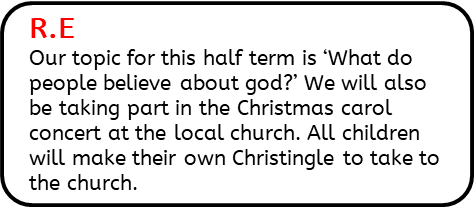 R.E: Our topic for this half term is 'What do people believe about god?' We will also be taking part in the Christmas carol concert at the local church. All children will make their own Christingle to take to the church.