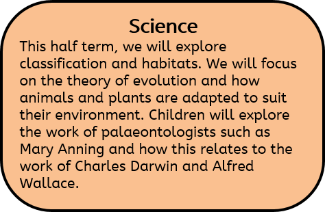 Science: This half term, we will explore classification and habitats. We will focus on the theory of evolution and how animals and plants are adapted to suit their environment. Children will explore the work of palaeontologists such as Mary Anning and how this relates to the work of Charles Darwin and Alfred Wallace.