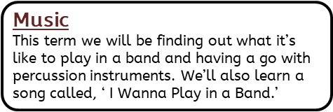 Music: This term we will be finding out what it's like to play in a band and having a go with percussion instruments. We'll also learn a song called, ' I Wanna Play in a Band.'