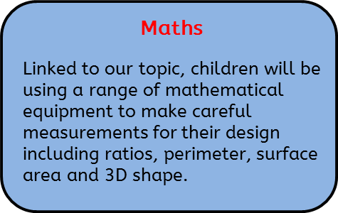 Maths: Linked to our topic, children will be using a range of mathematical equipment to make careful measurements for their design including ratios, perimeter, surface area and 3D shape.