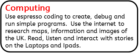 Computing: Use espresso coding to create, debug and run simple programs.  Use the internet to research maps, information and images of the UK. Read, listen and interact with stories on the Laptops and Ipads.