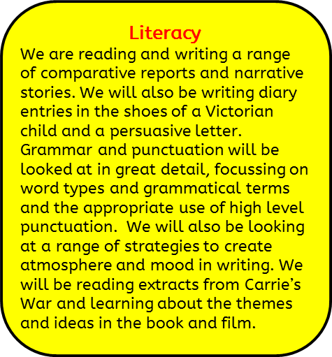 Literacy: We are reading and writing a range of comparative reports and narrative stories. We will also be writing diary entries in the shoes of a victorian child and a persuasive letter. Grammar and punctuation will be looked at in great detail, focussing on word types and grammatical terms and the appropriate use of high level punctuation.  We will also be looking at a range of strategies to create atmosphere and mood in writing. We will be reading extracts from Carrie's War and learning about the themes and ideas in the book and film.