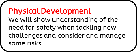 Physical Development: We will show understanding of the need for safety when tackling new challenges and consider and manage some risks.