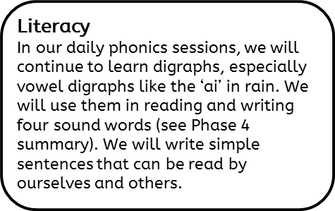 Literacy: In our daily phonics sessions, we will continue to learn digraphs, especially vowel digraphs like the 'ai' in rain. We will use them in reading and writing four sound words (see Phase 4 summary). We will write simple sentences that can be read by ourselves and others.