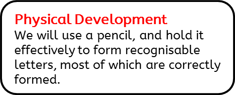 Physical Development: We will use a pencil, and hold it effectively to form recognisable letters, most of which are correctly formed.