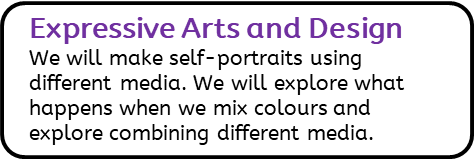 Expressive Arts and Design: We will make self-portraits using different media. We will explore what happens when we mix colours and explore combining different media.