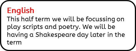 English: This half term we will be focussing on play scripts and poetry. We will be having a Shakespeare day later in the term.