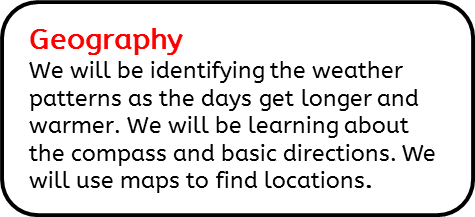 Geography: We will be identifying the weather patterns as the days get longer and warmer. We will be learning about the compass and basic directions. We will use maps to find locations.