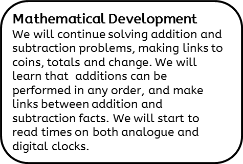 Mathematical Development: We will continue solving addition and subtraction problems, making links to coins, totals and change. We will learn that  additions can be performed in any order, and make links between addition and subtraction facts. We will start to read times on both analogue and digital clocks.