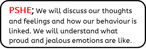 PSHE; We will discuss our thoughts and feelings and how our behaviour is linked. We will understand what proud and jealous emotions are like.
