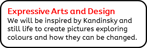 Expressive Arts and Design: We will be inspired by Kandinsky and still life to create pictures exploring colours and how they can be changed.