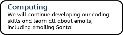 Computing: We will continue developing our coding skills and learn all about emails; including emailing Santa!