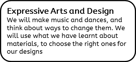 Expressive Arts and Design: We will make music and dances, and think about ways to change them. We will use what we have learnt about materials, to choose the right ones for our designs