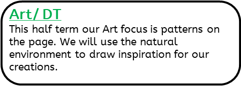 Art / DT: This half term our Art focus is patterns on the page. We will use the natural environment to draw inspiration for our creations.