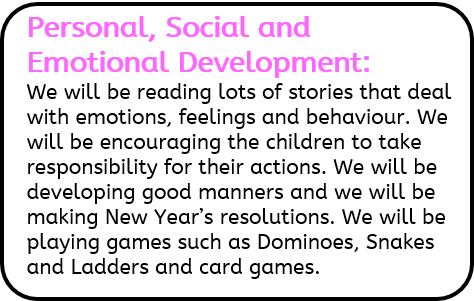 Personal, Social and Emotional Development: We will be reading lots of stories that deal with emotions, feelings and behaviour. We will be encouraging the children to take responsibility for their actions. We will be developing good manners and we will be making New Year's resolutions. We will be playing games such as Dominoes, Snakes and Ladders and card games.