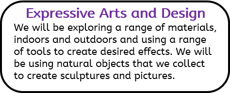 Expressive Arts and Design: We will be exploring a range of materials, indoors and outdoors and using a range of tools to create desired effects. We will be using natural objects that we collect to create sculptures and pictures.