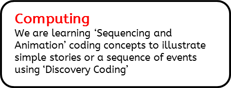 Computing: We are learning 'Sequencing and Animation' coding concepts to illustrate simple stories or a sequence of events using 'Discovery Coding'
