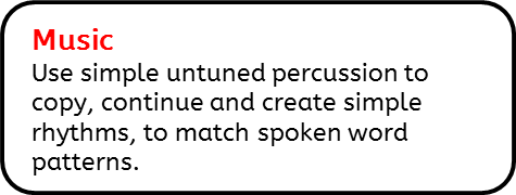 Music: Use simple untuned percussion to copy, continue and create simple rhythms, to match spoken word patterns.