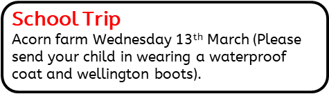 School Trip: Acorn farm Wednesday 13th March (Please send your child in wearing a waterproof coat and wellington boots).