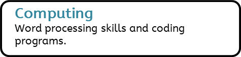 Computing: Word processing skills and coding programs.