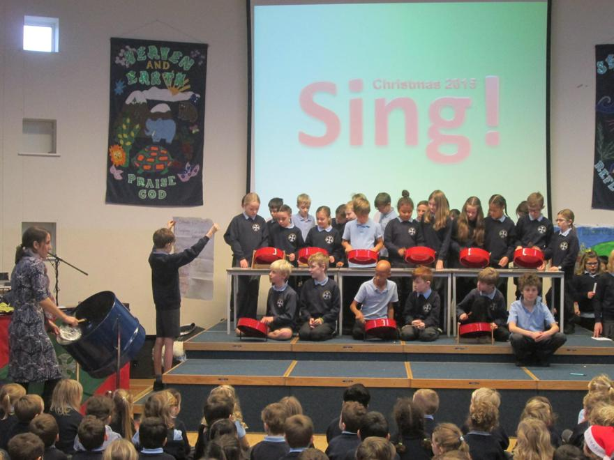 Eagles performing in assembly