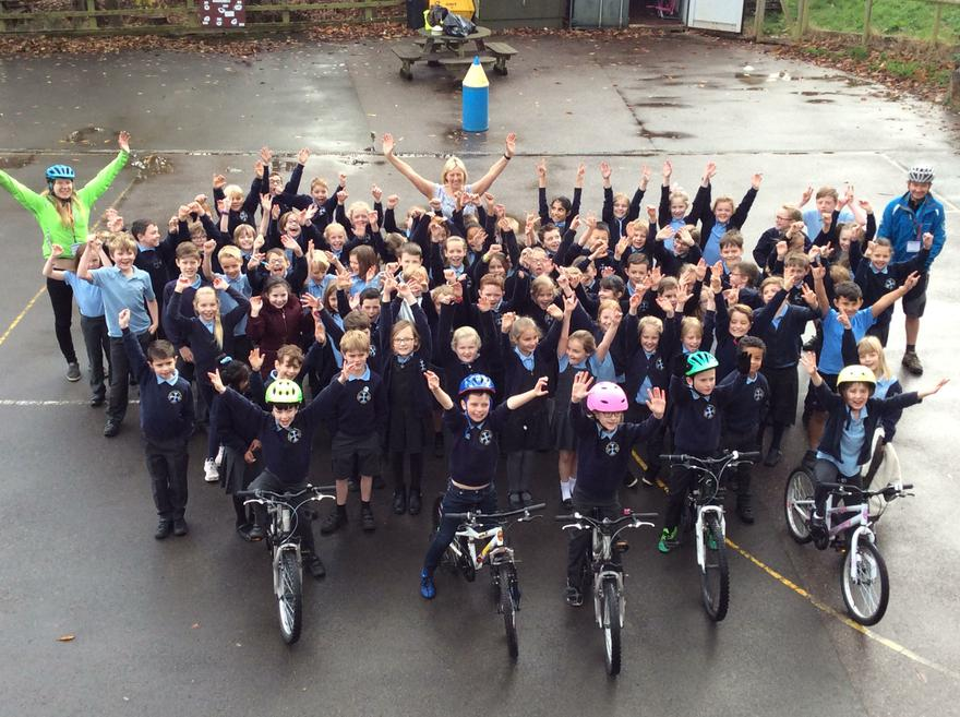 The year 3 and 4 Bikeability children!
